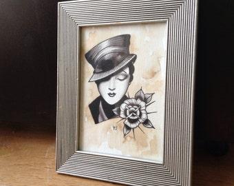 Original framed Art Deco Lady tattoo design flash • FREE SHIPPING