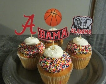 Cupcake toppers, party supplies, Alabama Crimson Tide, basketball, NCAA, Roll Tide, Bama