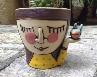 Super cute succulent planter, handmade cactus planter, cute home decoration,high quality stoneware and porcelain planter