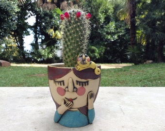 Girl and the cat succulent planter, handmade sculptural planter, high quality stoneware and porcelain planter -