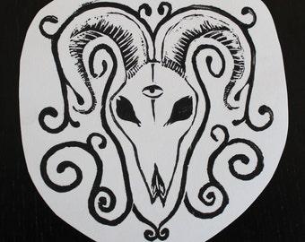 Ram Skull Linocut Print