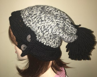 Slouchy mix black, white and grey beanie hat