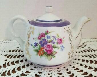 Vintage Floral Lusterware Teapot