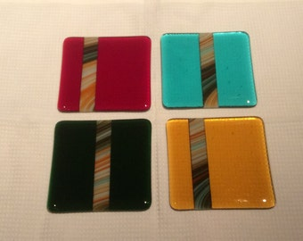Set of four  hand made fused glass coasters with marbled stripes