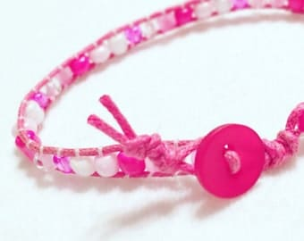 Pink and White Glass Bead Wrap Bracelet