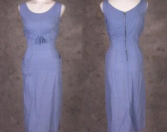 Vintage 1950s Periwinkle Blue Wiggle Dress
