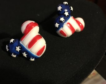 Patriotic Flag Mickey Mouse Stud Earrings  A13