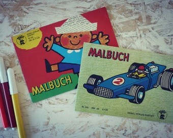 """-Set of 2 albums """"MALBUCH"""" - coloring books Albums coloring cars/children kids"""