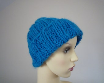 Hand knit bright blue slouchy hat, wool and alpaca