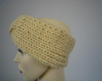 Hand knit yellow twisted headband, merino wool and cashmere