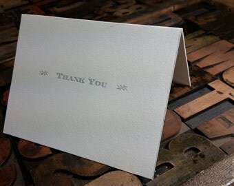 Thank You card, printed letterpress