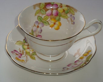 Royal Albert CLEMATIS Cup and Saucer ~ Avon Shape