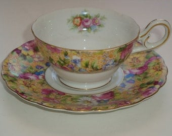 M.B. Occupied Japan Demitasse Chintz Cup and Saucer