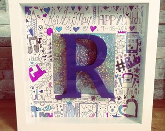 personalised hand drawn celebration name doodle art in a box frames white/black frame