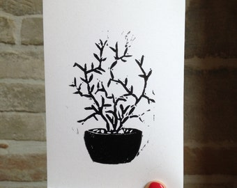 Succulent blockprinted card
