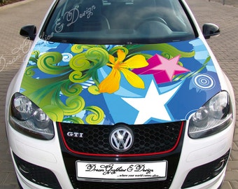 Car Bonnet Decal Etsy - Car decals designabstract full color graphics adhesive vinyl sticker fit any car