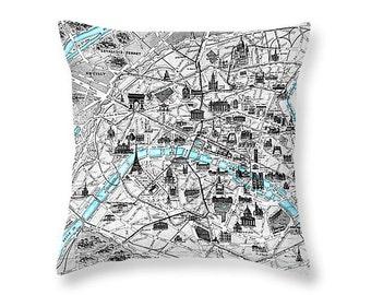 Paris Map Pillow cover, Vintage map pillow case, Paris vintage map cushion, Paris pillow, Paris decor, Paris vintage, French cushion