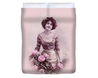 Shabby chic duvet cover, Vintage style duvet, Vintage girl, French style duvet, Pink Pastel bedding, Retro duvet, Vintage print duvet