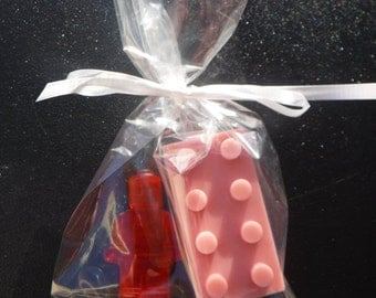 10 Party Favors- Lego Brick & Mini Figure All natural soap gift bag set. Customize color and Scent