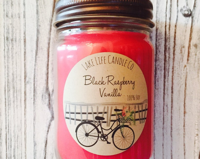 Market Collection: Black Raspberry Vanilla Handmade Soy Candle, Lake Life Candle Co.