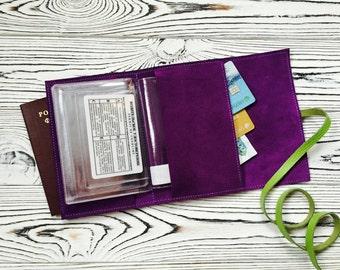 Leather travel wallet / passport holder