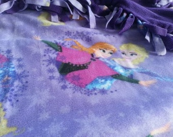READY TO SHIP Purple Frozen Knotted Fleece Throw With Antipill Backing