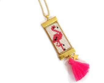 Bohemian necklace beads Miyuki and pompon / pink Flemish