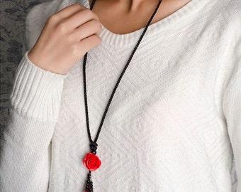 rose flowers necklace,fashion handmade