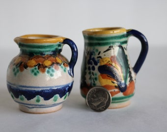 Miniature Hand painted Pottery pitcher set