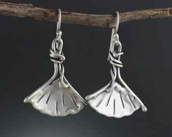 Sterling Silver Ginkgo Earrings - Ginkgo Jewelry - Ginkgo Leaf - Silver Leaf Earring - Leaf Jewelry - Silver Dangle Earring - Sherry Tinsman