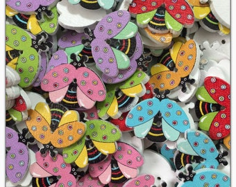 """10 or 20 Bee buttons, bright wood bee buttons, novelty, scrapbooking, sewing, crafts colorful bee buttons, bug, insect, 20mm, 3/4"""", 20 mm 3/"""
