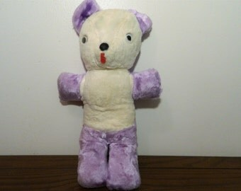 Vintage Stuffed Toy Bear Purple And White