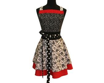 Retro Black and Red Polka Dot  Vintage Apron Cute Kitchen Apron Womens Apron