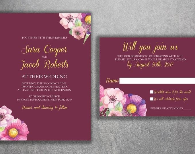 Floral Wedding Invitations Set Printed - Cheap, Floral-Vintage, Designed, Modern, Burgundy, Pink, Purple, Affordable, Boho