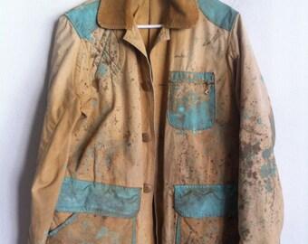 Vintage textil men's jacket, size large .