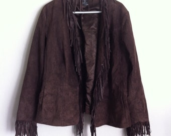 Brown women's jacket, from soft suede with fringe, short jacket, vintage style, size - XL