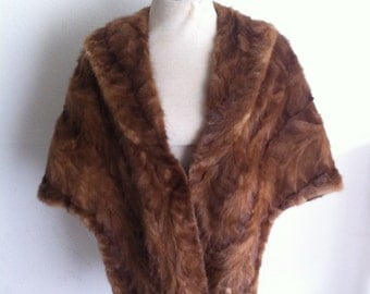 Bright brown women's soft fur bolero, real mink, velvet and shiny fur, retro design, festive look, vintage style, size-universal.