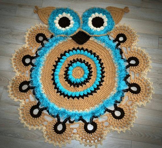 Crochet Owl Rug / Handmade Rug / Play Room Rug/ Baby Shower