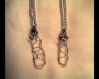 Wrapped Clear Quartz  OM Necklace