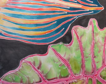 Five Leaves Hand Painted Silk Scarf