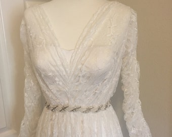 Custom 100% silk and lace bridal gown