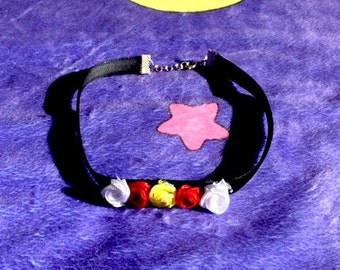 Black Velvet Choker with Red, White, and Yellow Roses