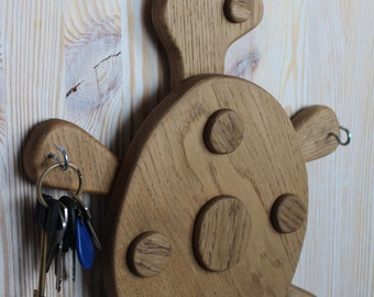 Wood Key Holder, Hooks,Turtle,Key Hanger, Key Hook, Childrens Hanger