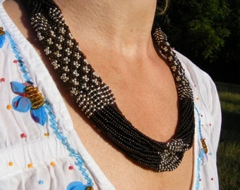 Collier dark brown with silver - Seed Beads - Beaded necklace