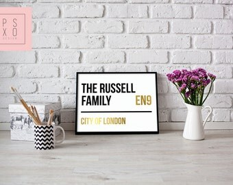 Home Decor | London Street Sign | Customised Family Name | Postcode | New Home Present | Typography | Print | Custom Digital Art