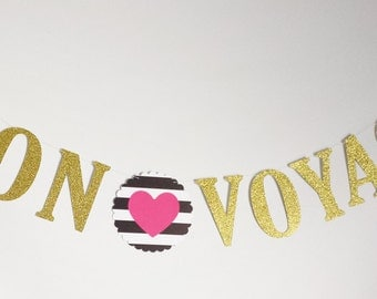 Bon Voyage banner,Kate Spade inspired! Farewell banner, Bon voyage Gold glitter banner,Special occasion banner,we will miss you banner