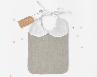 Natural Linen baby Bib Girl  Gift Idea  Infant Bib