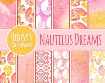 Watercolor Nautilus Sea Shell Digital Paper / Pink and Yellow Ocean Scrapbooking Paper