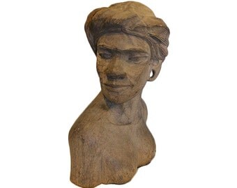 Native Hand Carved Wood Woman Bust Figurine