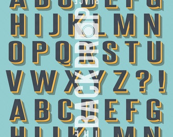 Photography Backdrop- Vintage Alphabet